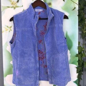 Fresh Produce blue corduroy vest